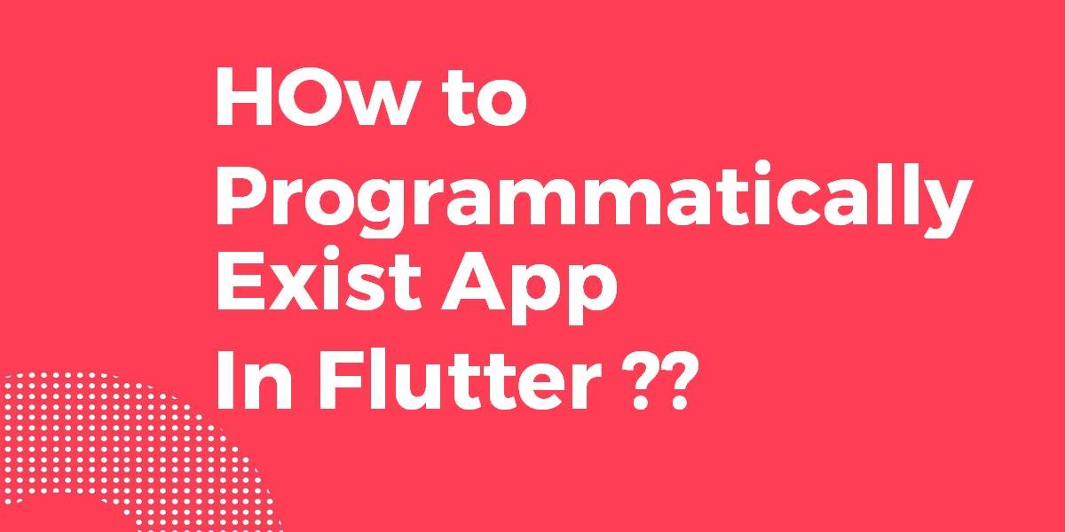 How to Programmatically Exist the App In Flutter