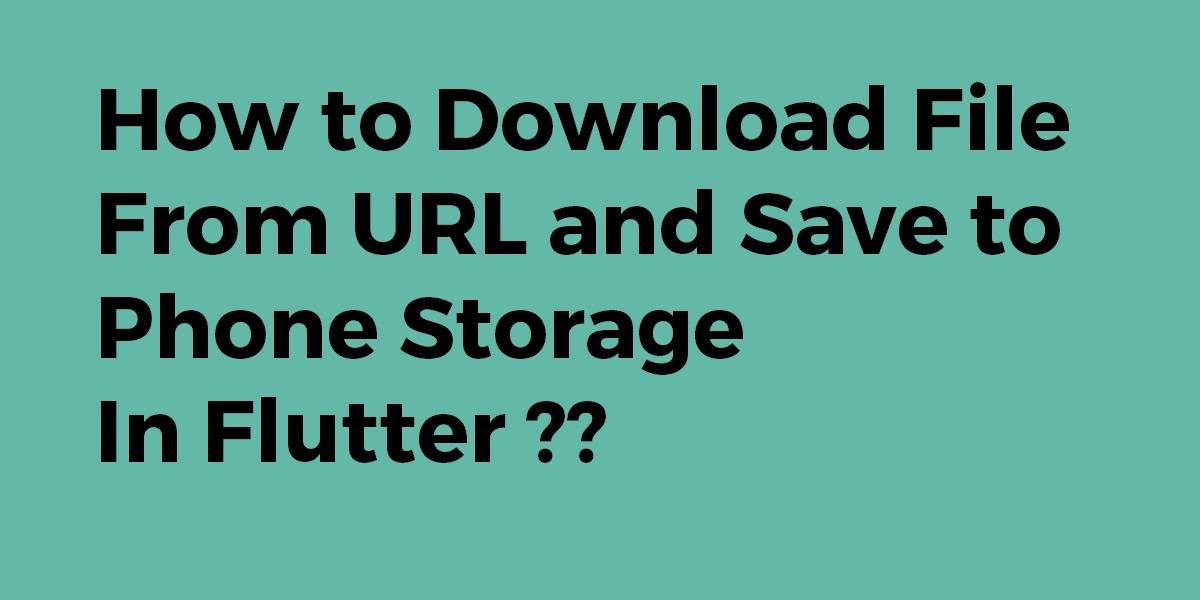 How to Download File From URL and Save to Phone Storage In Flutter